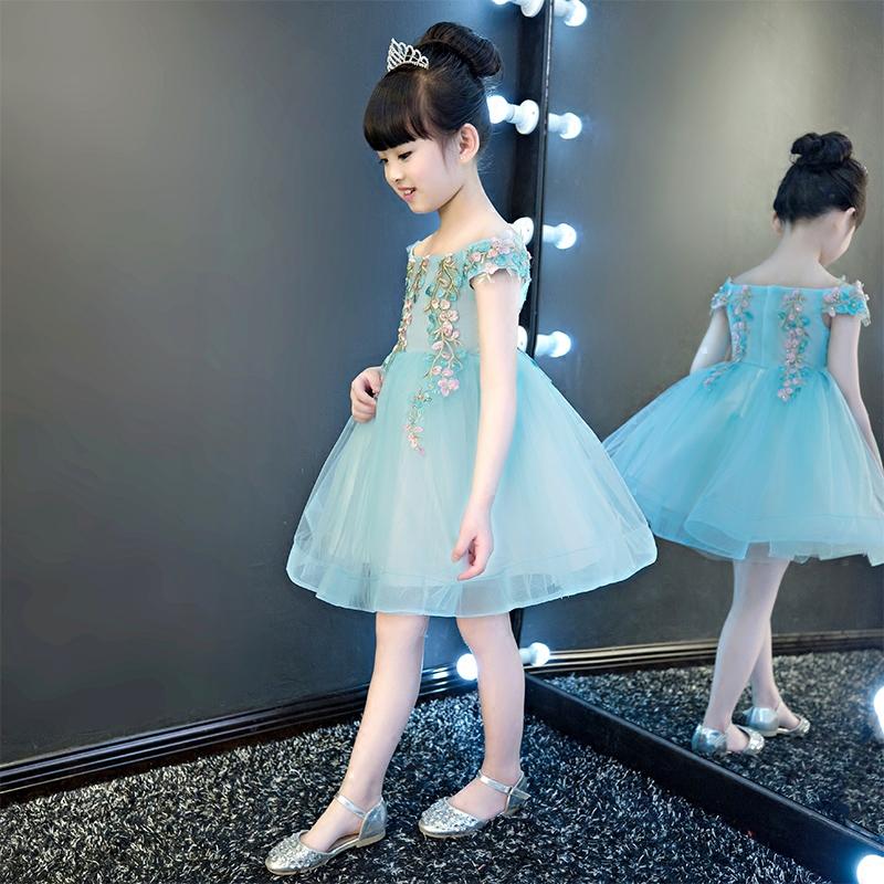 一字肩儿童礼服公主裙女童蓬蓬纱花童演出服走秀小主持人晚礼服