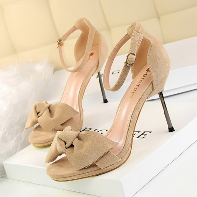 9923-3 han edition style sweet high-heeled shoes high heel and women sandals with waterproof suede bow one word