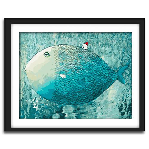 佳彩天颜油画卡通大鱼小房子