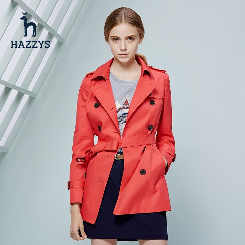Hazzys哈吉斯潮流韩版女士春秋外套修身显瘦休闲气质中长款风衣女