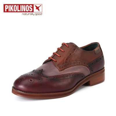 Pikolinos派高雁女鞋系带镂空拼色圆头粗跟布洛克单鞋女PL72501