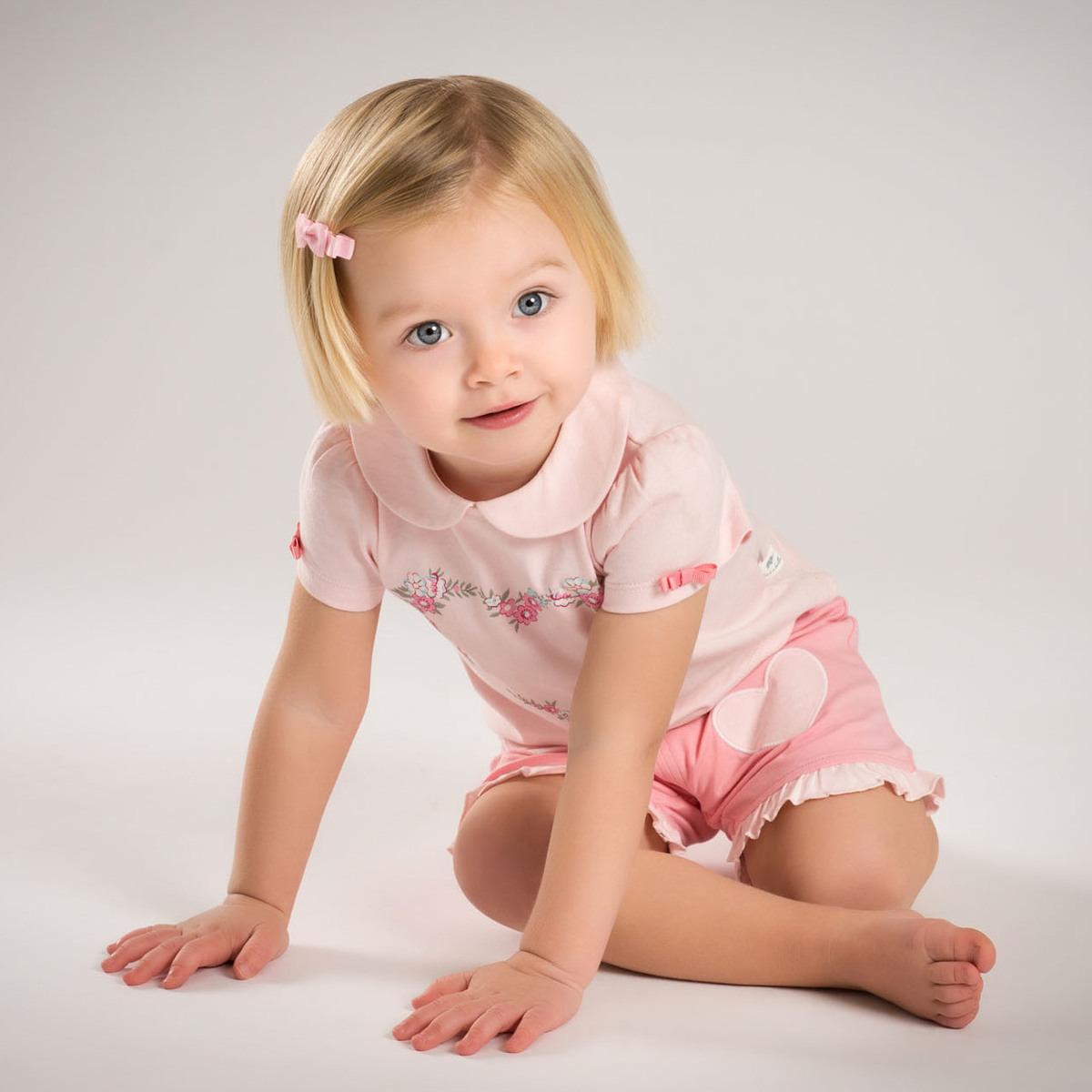 davebella戴维贝拉女童夏季新装套装 宝宝爱心花环套装DB5218