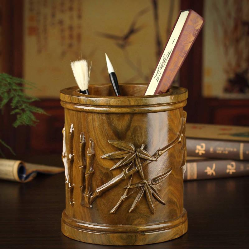 木石有约东阳木雕刻竹报平安笔筒2013122204