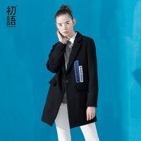 初语冬季新款 翻领字母贴布绣中长款毛呢外套修身黑色呢大衣
