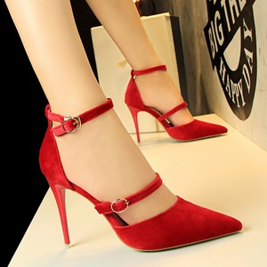 1627-3 han edition high-heeled shoes high heel with suede shallow mouth pointed sexy nightclub show thin one word with s