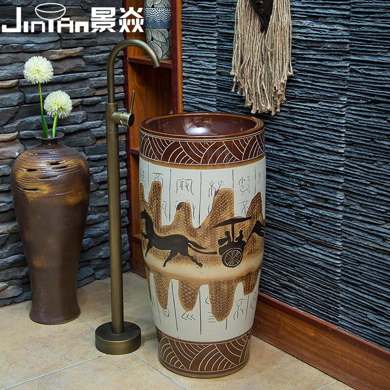 景焱陶瓷卫浴一体立柱盆LZ-464
