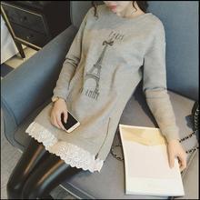 秋冬新款韩版孕妇加绒打底 衫蕾丝上衣 加厚孕妇装