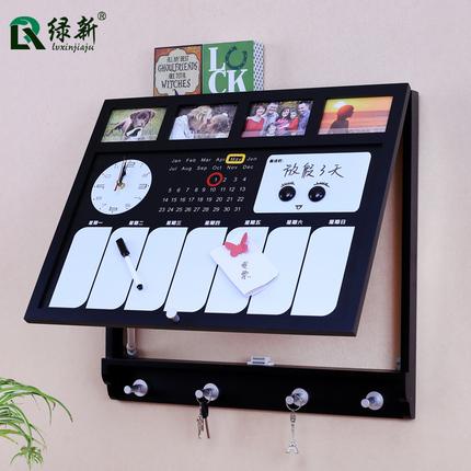 创意电表箱装饰画带钟表推拉空气开关盒客厅留言记事挂饰板遮挡箱