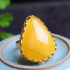 瑞熙亚琥珀蜜蜡戒指28MM银镶波罗的海鸡油黄活口琥珀指环送证书