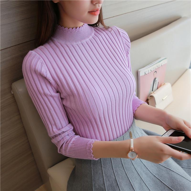女装新款花边半高领打底衫修身弹力衫毛衣纯色短款长袖针织衫紧身