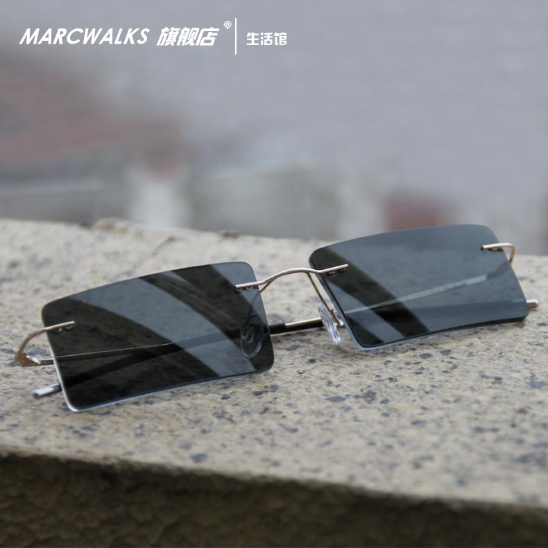 锋刃沈西林无框纯钛近视墨镜太阳镜变色镜方形眼镜架眼镜框男女