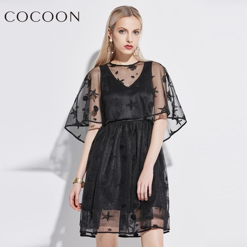 COCOON-可可尼夏装新品女装性感镂空网纱透视套装连衣裙