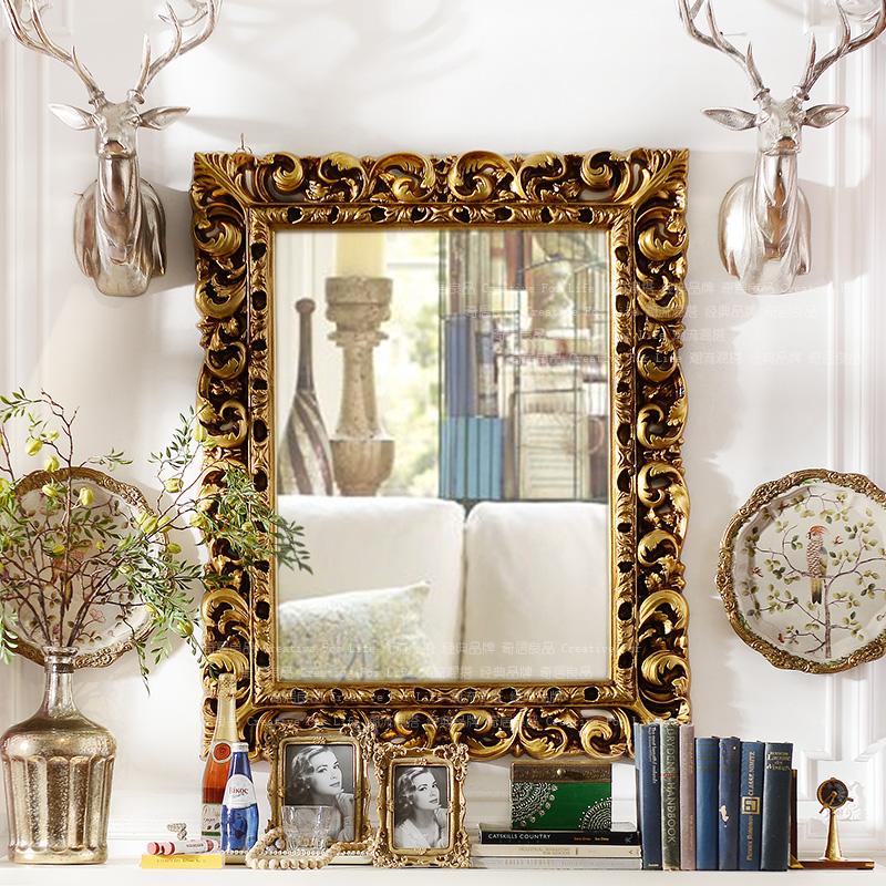 奇居良品家居卫浴壁饰凯瑟欧式墙面pu装饰镜子ZSJ044