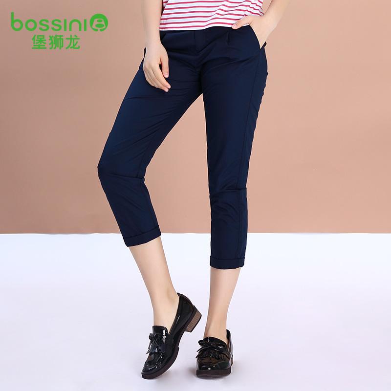 堡狮龙夏装新款女装直筒纯棉九分休闲裤 021108050