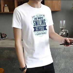 男士短袖黑白花色时尚简约T恤