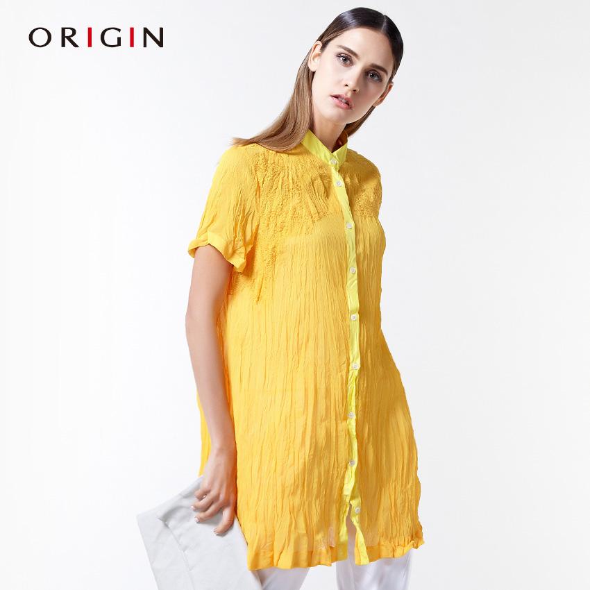 安瑞井女装ORIGIN夏季短袖中长款直筒立领修身压褶绣花衬衫