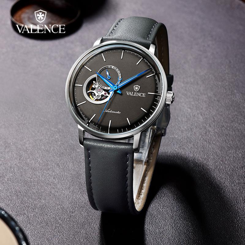 华轮时全自动机械手表商务手表男镂空手表多表盘真皮手表VC-074