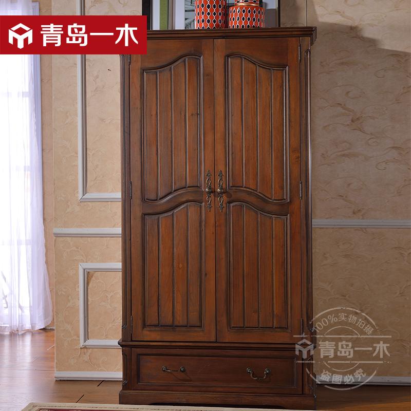 一木美式实木衣柜公爵双门衣柜