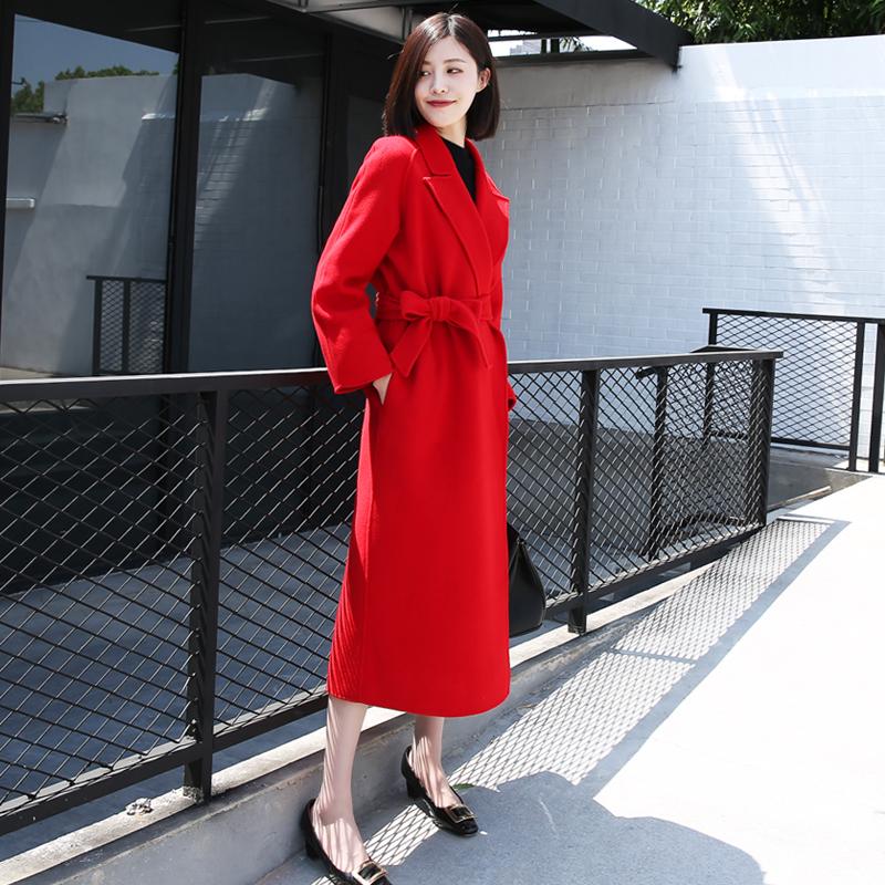 2018冬新款大红色双面呢零羊绒大衣羊毛呢子中长款外套女新娘结婚