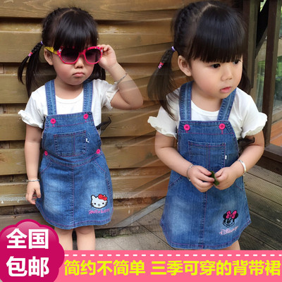 2016 new children's girls strap denim skirt female baby Korean cartoon Mickey children's clothing spring child skirt