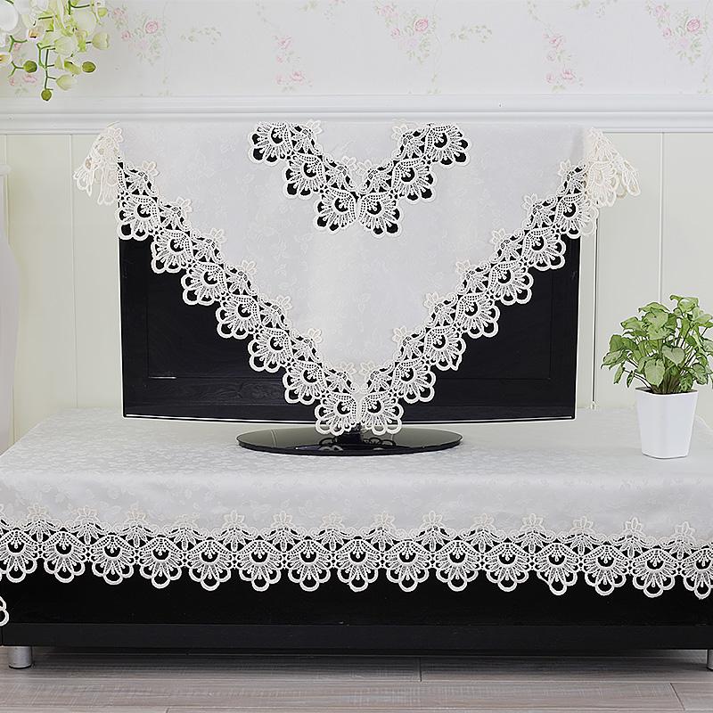 欧式白色电视巾电视柜巾洗衣机盖巾空调盖巾蕾丝花边桌布床头柜巾