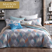 梦洁出品MAISON库姆堡纯棉双面磨毛四件套床上套件方形格纹保暖
