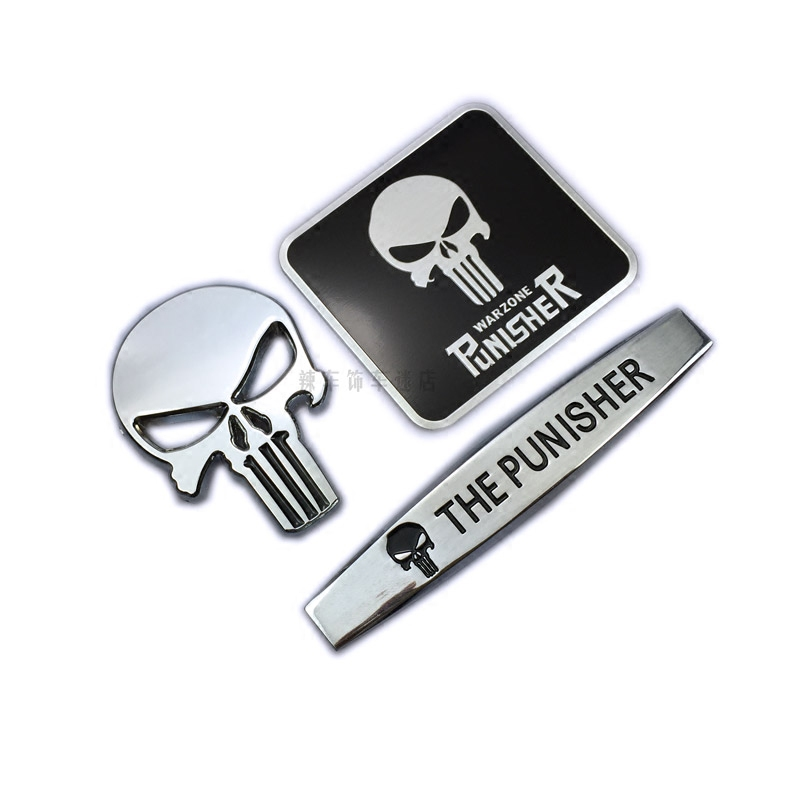 Punisher Skull logo Punisher metal labels and creative personality-body rear side standard labels