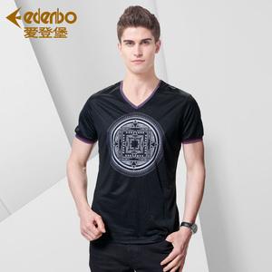 爱登堡韩版修身男士短袖T恤V领
