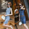 Real Shot New Fashion V-Neck Denim Dress Sleeveless Slim Slimming Dress Step Skirt