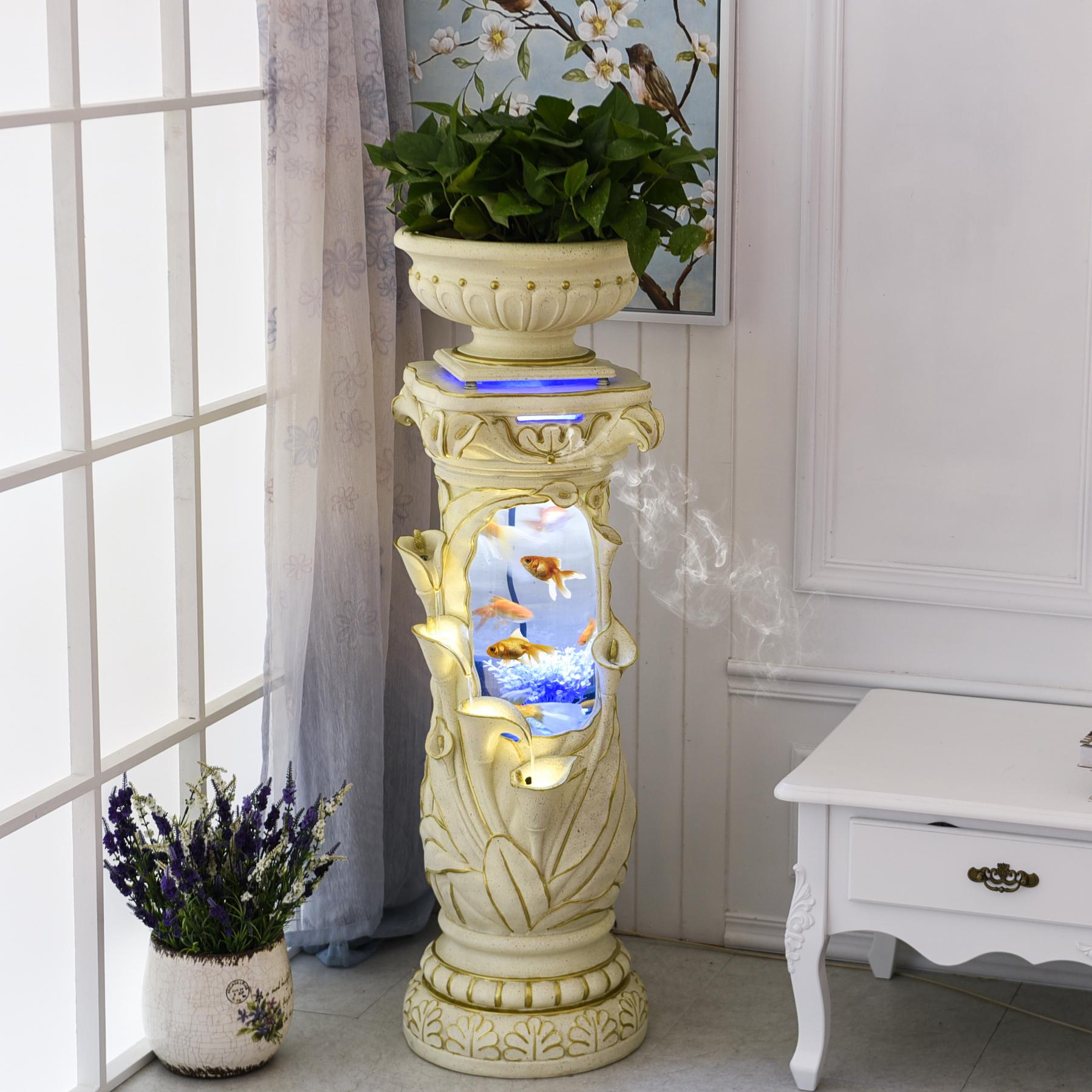 欧式喷泉流水器新房客厅创意装饰品养鱼缸水景风水轮摆件乔迁礼品