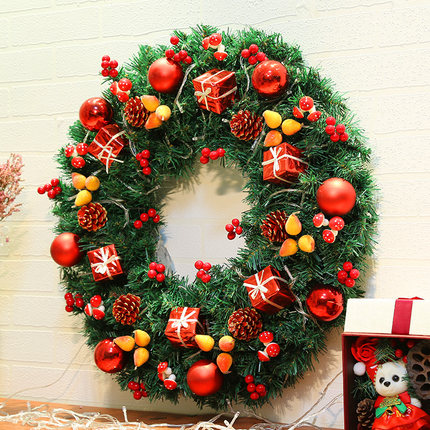 Christmas Wreath Ornaments Doors Christmas Tree Deluxe Encrypted Lights Decorative Rattan Pendant