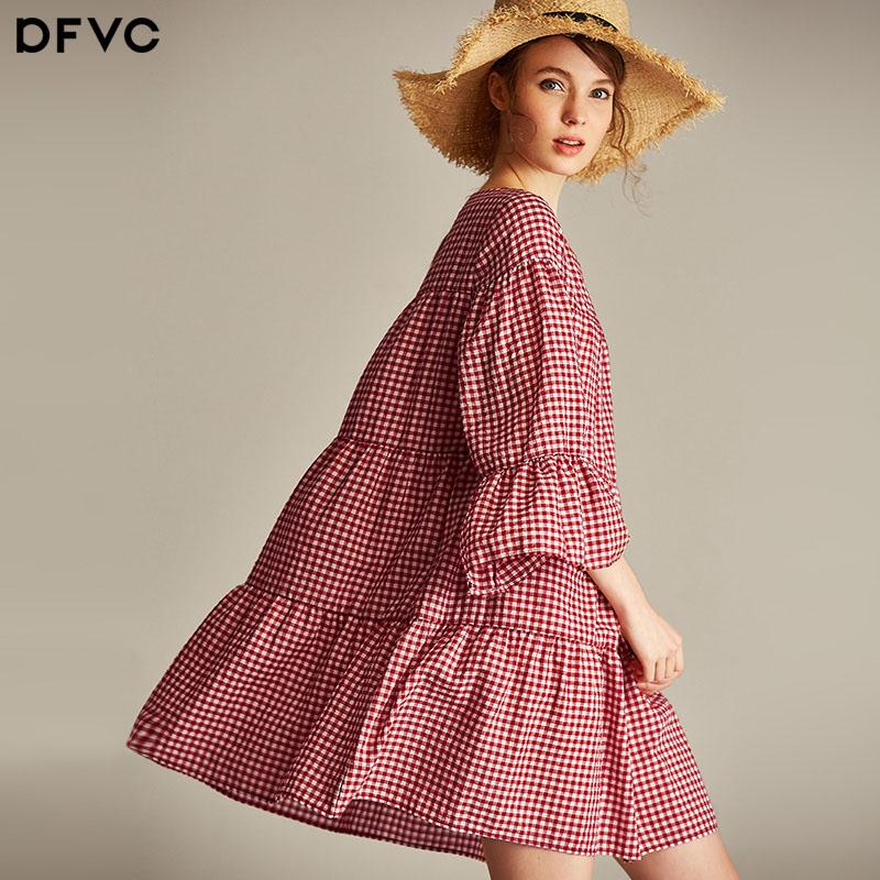 dfvc2018春夏新款蓬蓬裙纯棉格子连衣裙女喇叭袖娃娃裙显瘦a字裙