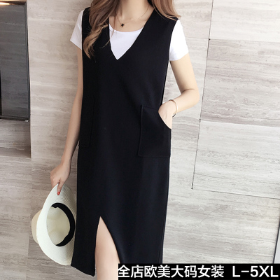 200 pounds fat MM women plus fertilizer XL women's 2018 summer new long section was thin V-neck strap dress