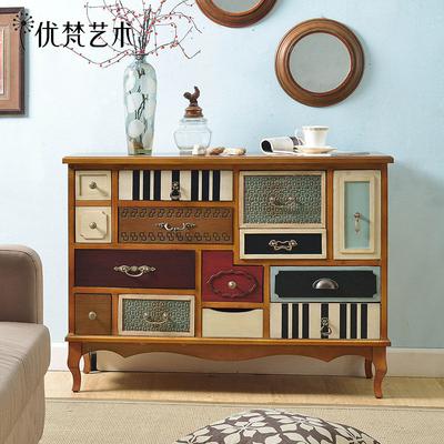 优梵艺术美式乡村玄关柜桌彩绘抽屉门厅地中海储物组合柜实木脚