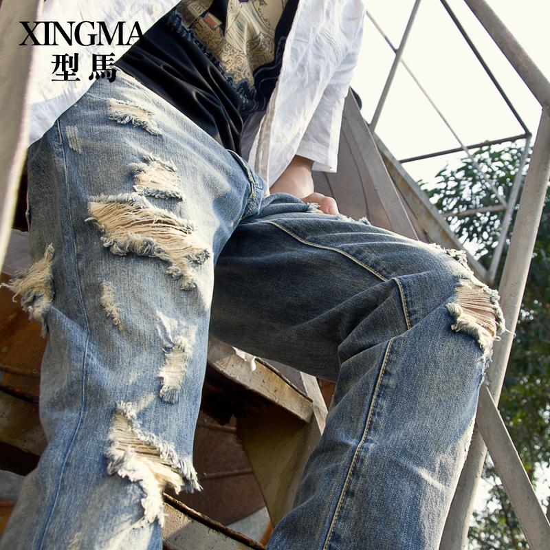 型马韩版潮流男士做旧复古水洗磨烂破洞牛仔裤男小直筒长裤子夏季