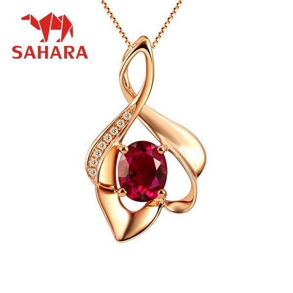 撒哈拉天然红碧玺吊坠 18K玫瑰金镶嵌钻石彩宝吊坠彩色宝石项链