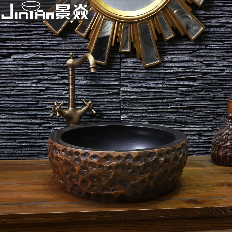 景焱陶瓷台上盆艺术面盆深雕T-572