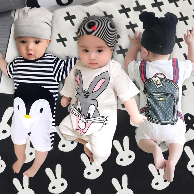婴儿连体衣服夏季女宝宝夏装薄款6男哈衣新生儿短袖0岁1纯棉3个月