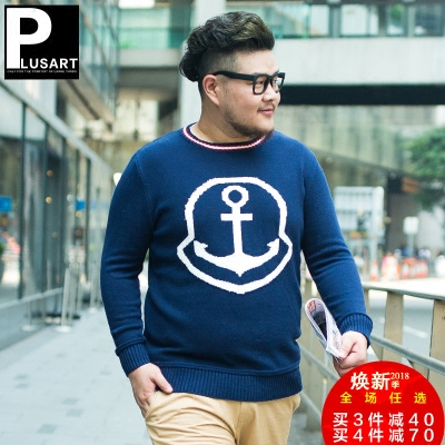PLUSART large size men's spring and autumn new hit color anchor sweater tide fat plus fertilizer XL sweater