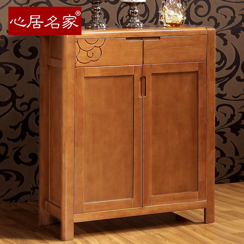 心居名家实木新中式雕花鞋柜K908