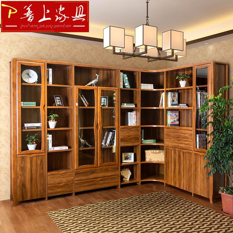 普上实木转角书房书柜HTL-E09组合转角书柜