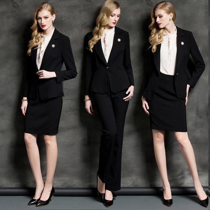 AD时尚职业装女装黑色高端正装西装套装气质西服套裙ol工作服春秋