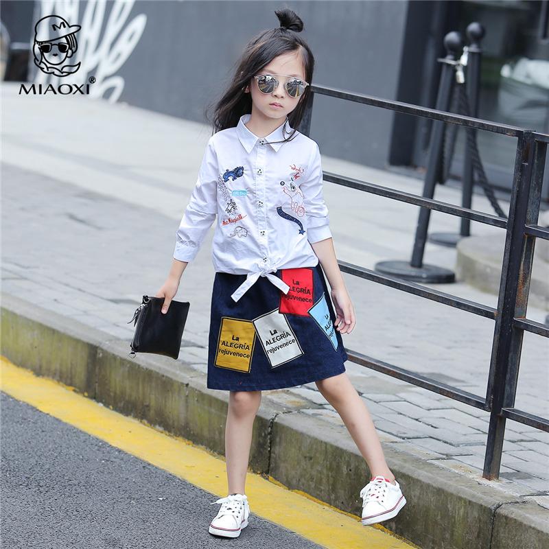 欧美2016新款女童秋装套装中大童装刺绣长袖衬衫牛仔裙休闲两件套