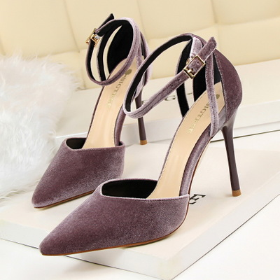 139 han edition fashionable suede shallow mouth pointed hollow hollow out fine with high heels and sexy delicate and ele