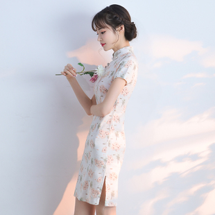 改良旗袍春款2017新款少女日常连衣裙短款学生气质淑女