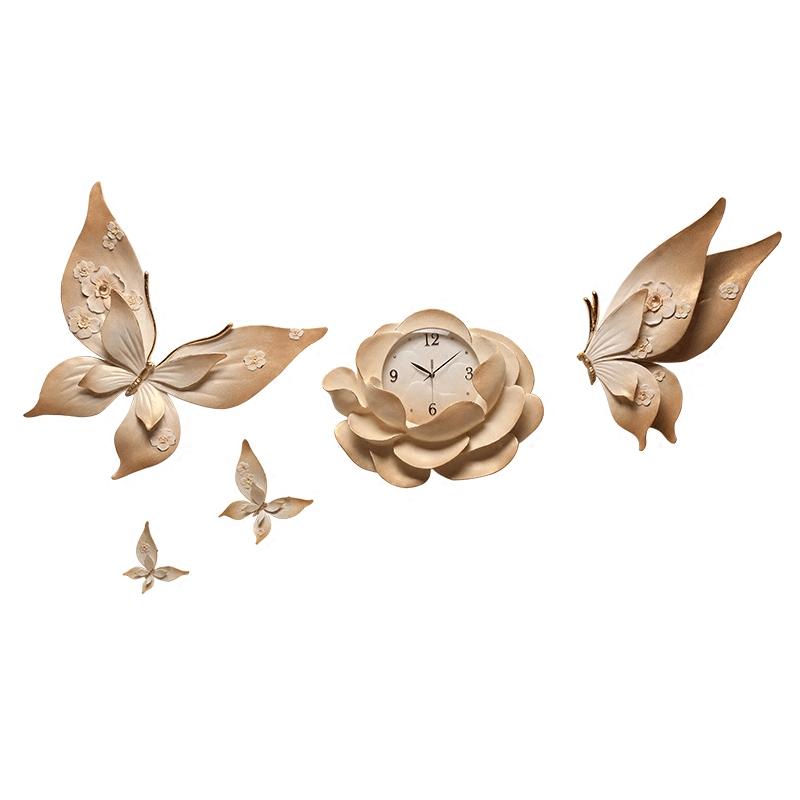 艺时代 创意挂钟个性简约客厅挂表diy立体家用表静音蝴蝶装饰时钟