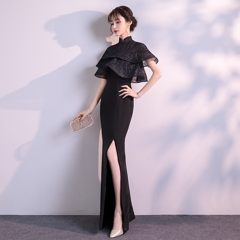 黑色晚礼服裙女2018新款宴会高贵优雅名媛长款端庄大气主持人年会