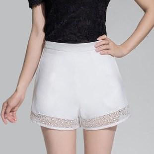 蕾丝阔腿短裤女夏高腰修身显瘦休闲裤子百搭外穿2016夏装新款女装