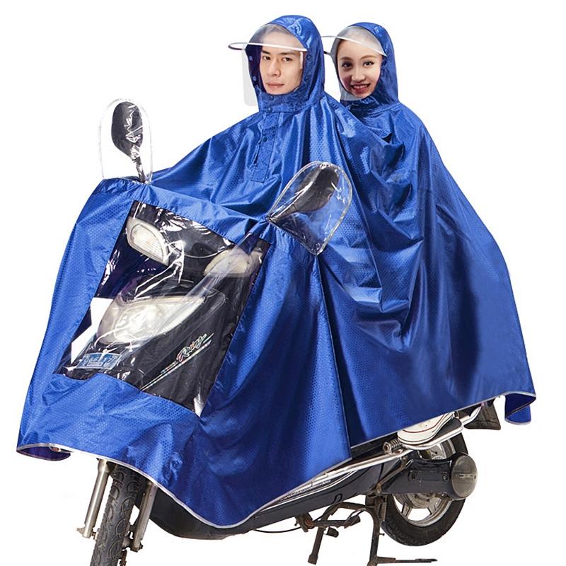 骑安摩托车雨衣电动车双人母子情侣雨衣加大加厚透明帽檐成人雨披