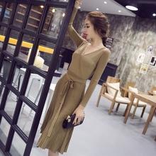 秋冬季针织裙 新款时尚女装 长袖连衣裙